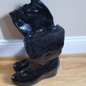 Coach patent leather boots
